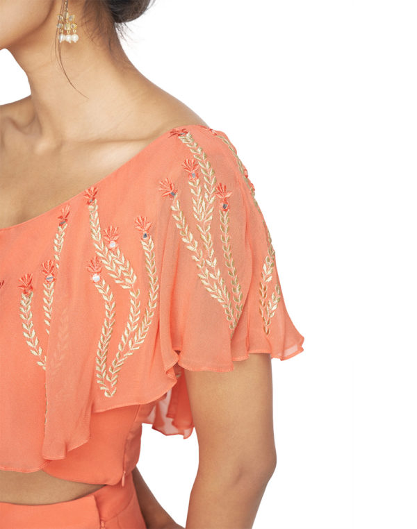 Embroidered Crop top and Pleated Palazzo
