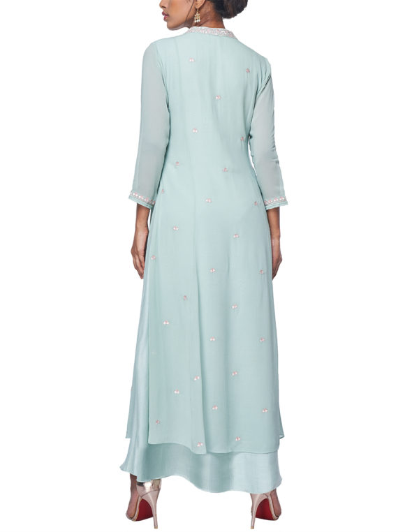 Embroidered Aqua Double layer Tunic