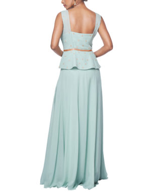 Embroidered Aqua Peplum Gown
