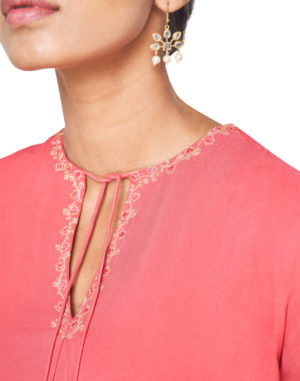 EMBROIDERED LIGHT CORAL KURTA