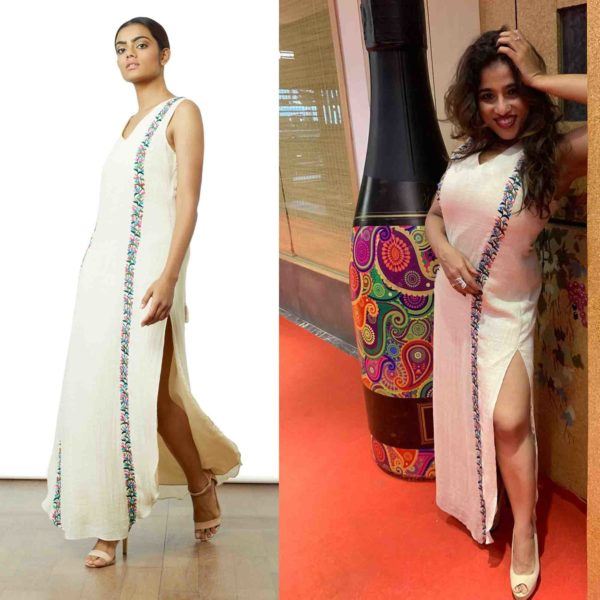 Malishka in our Ivory Embroidered Maxi