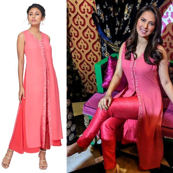 Rochelle Rao in Coral Pink Tunic & Pant