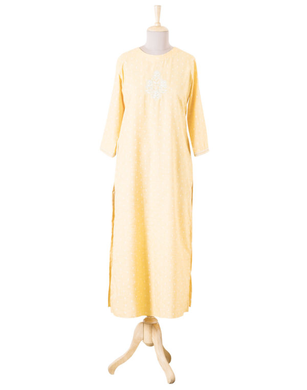 Embroidered Yellow Print Tunic