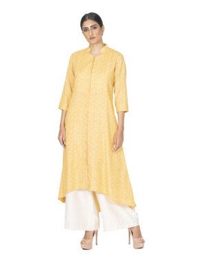 Pin Tuck Yellow Print Tunic